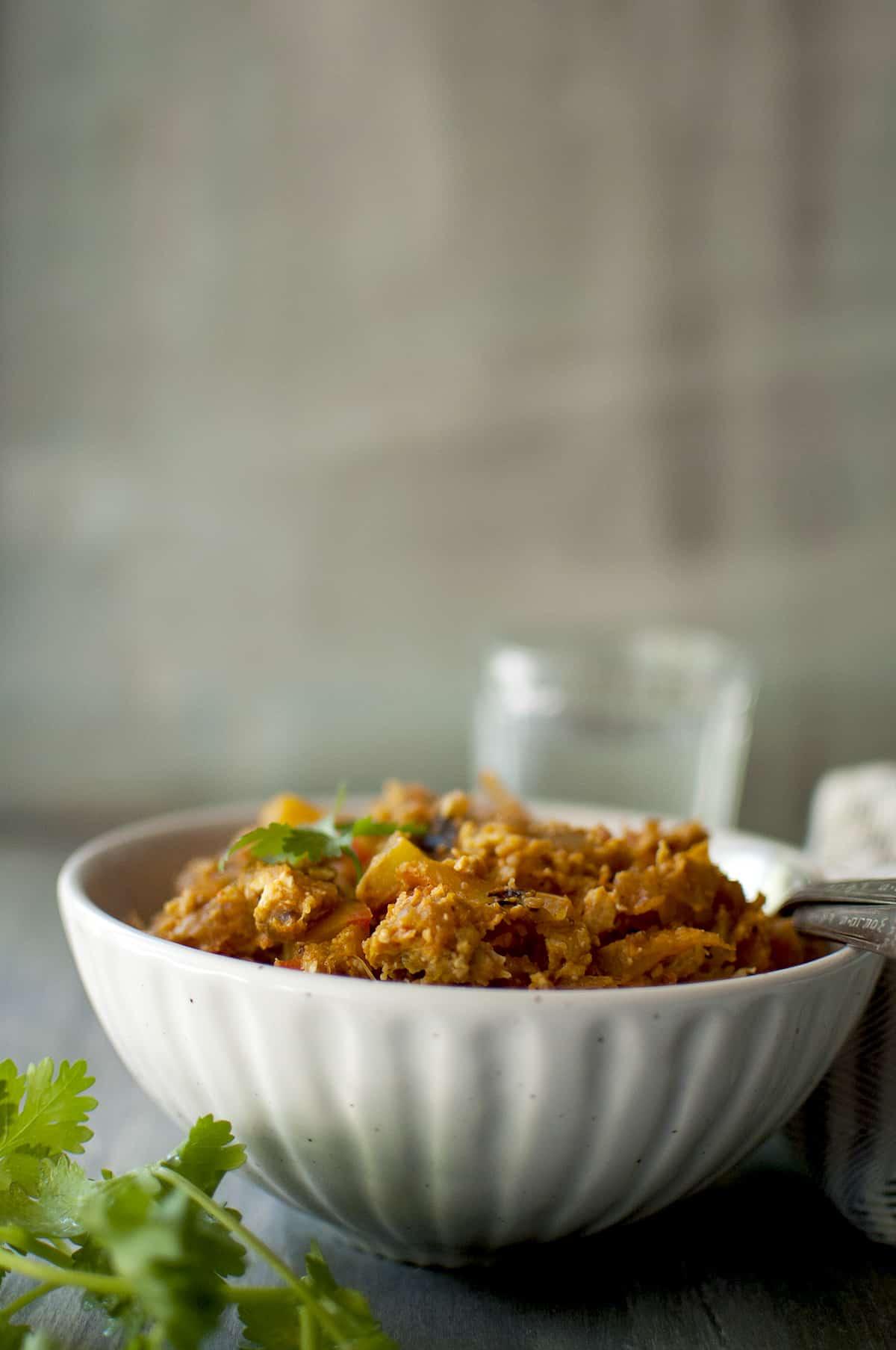 White bowl with Chilli Parotta