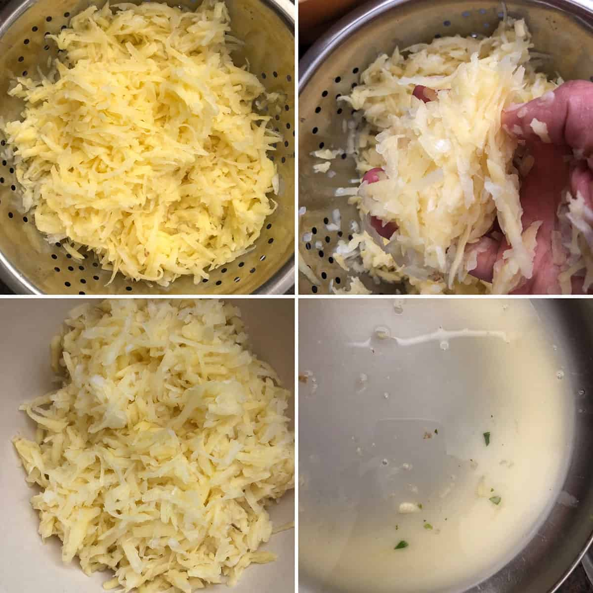 Grated potato in a colander, squeezed out and starch left at the bottom