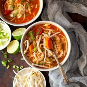 White bowls with Veg Thukpa noodle soup