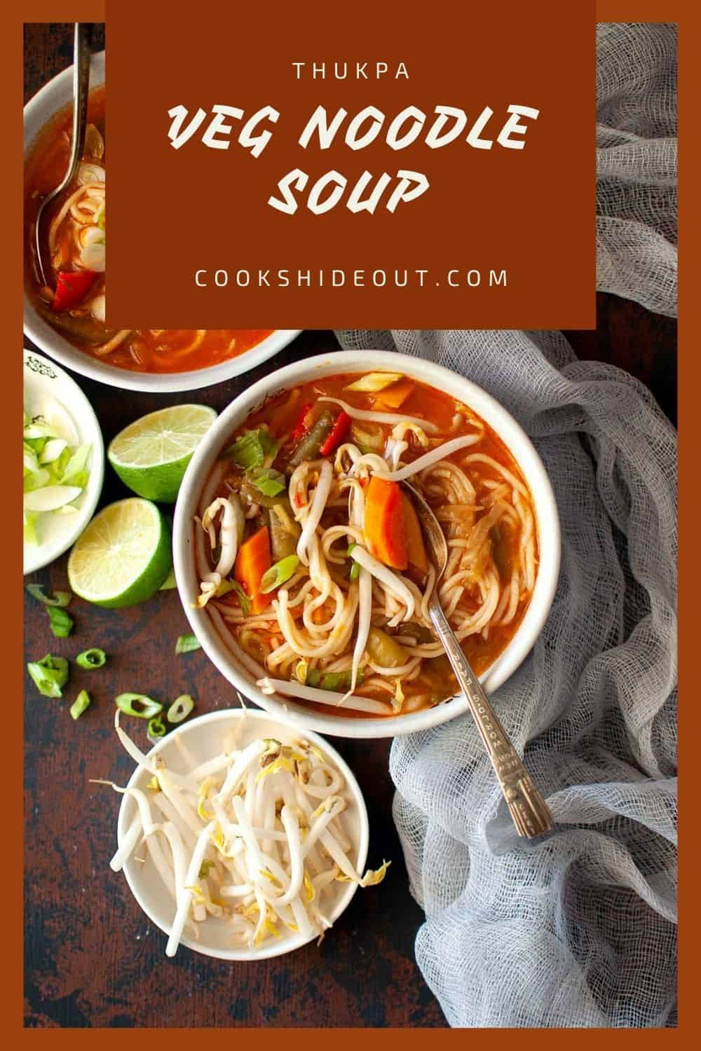 White bowls with Vegetable noodle soup