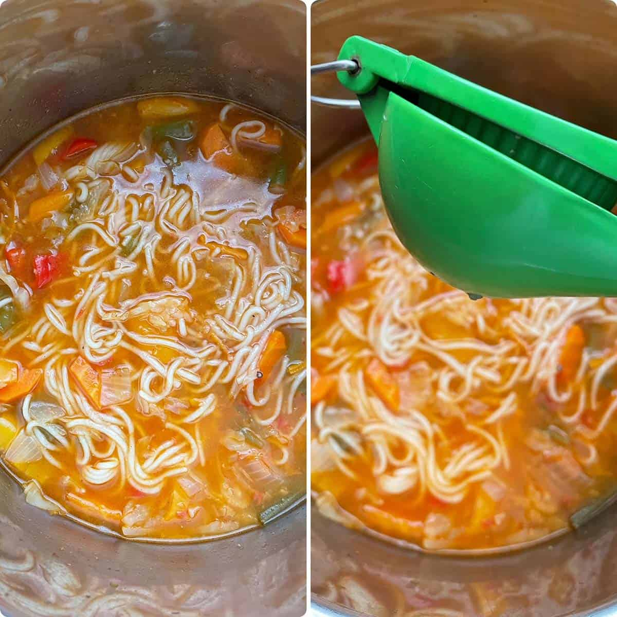 Cooked noodle soup drizzled with lemon juice