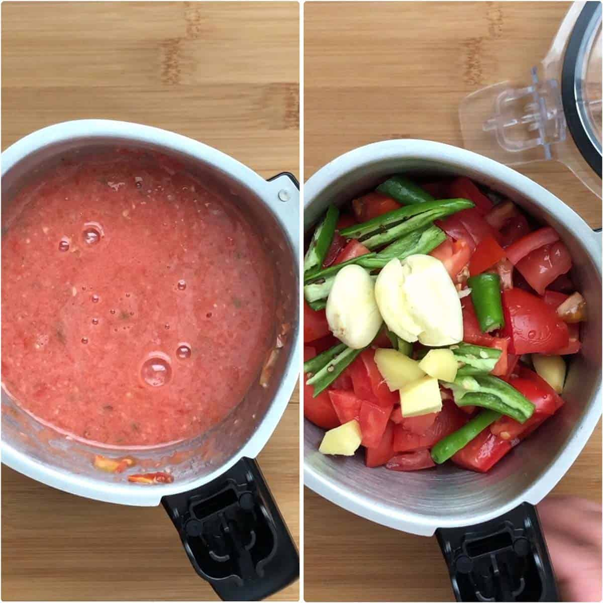 Blending tomatoes with chilies, ginger and garlic