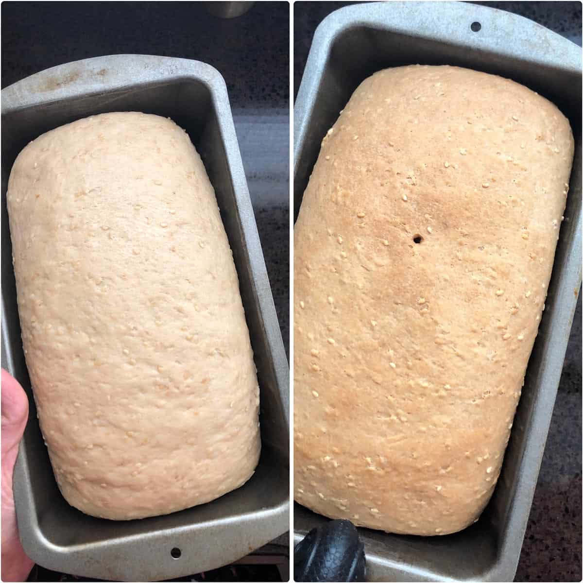 Side by side photos of the loaf before and after baking