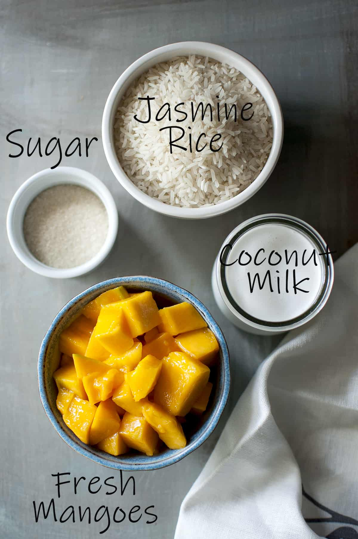 Ingredients - Jasmine rice, coconut milk, fresh mango and sugar