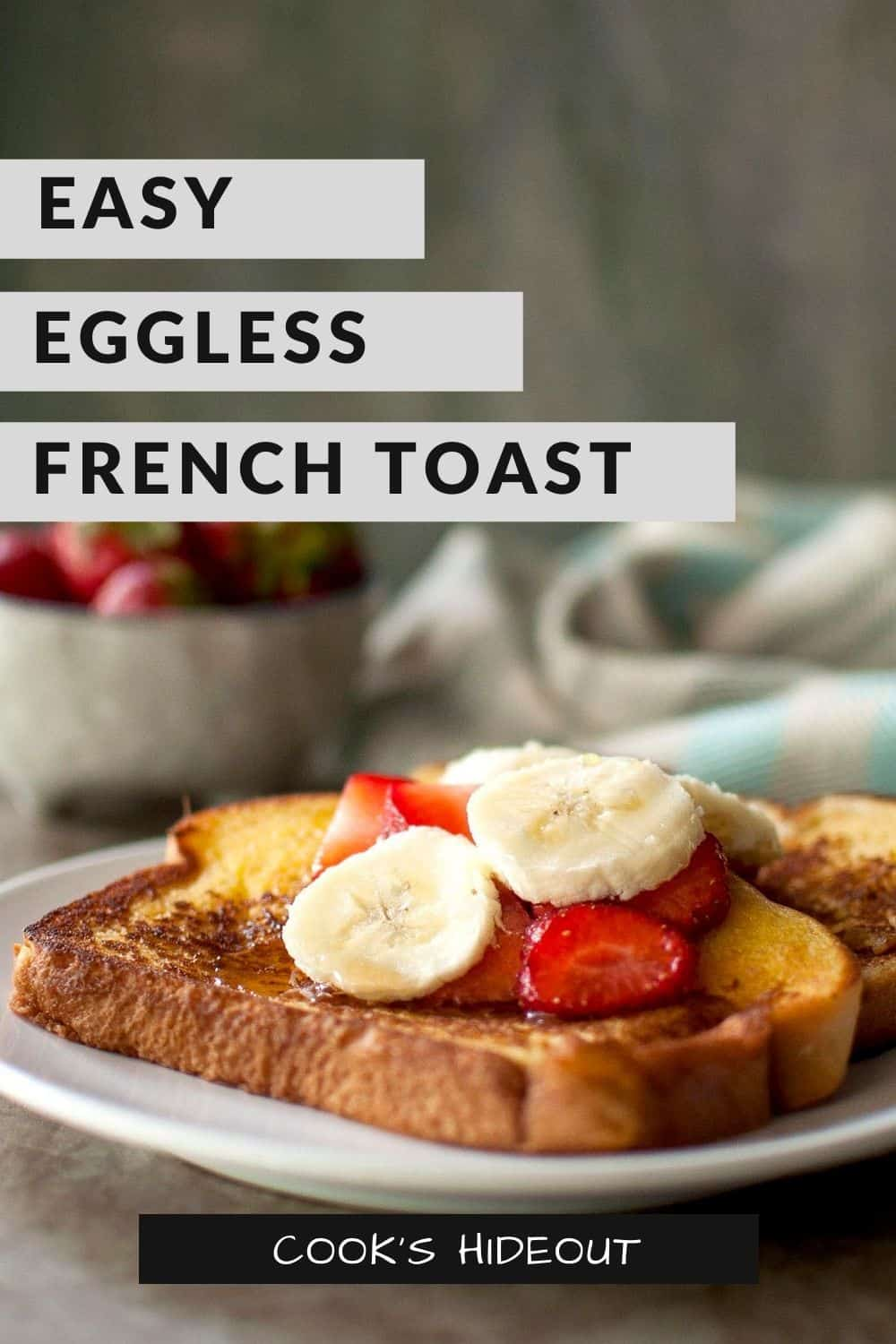 White plate with eggless french toast