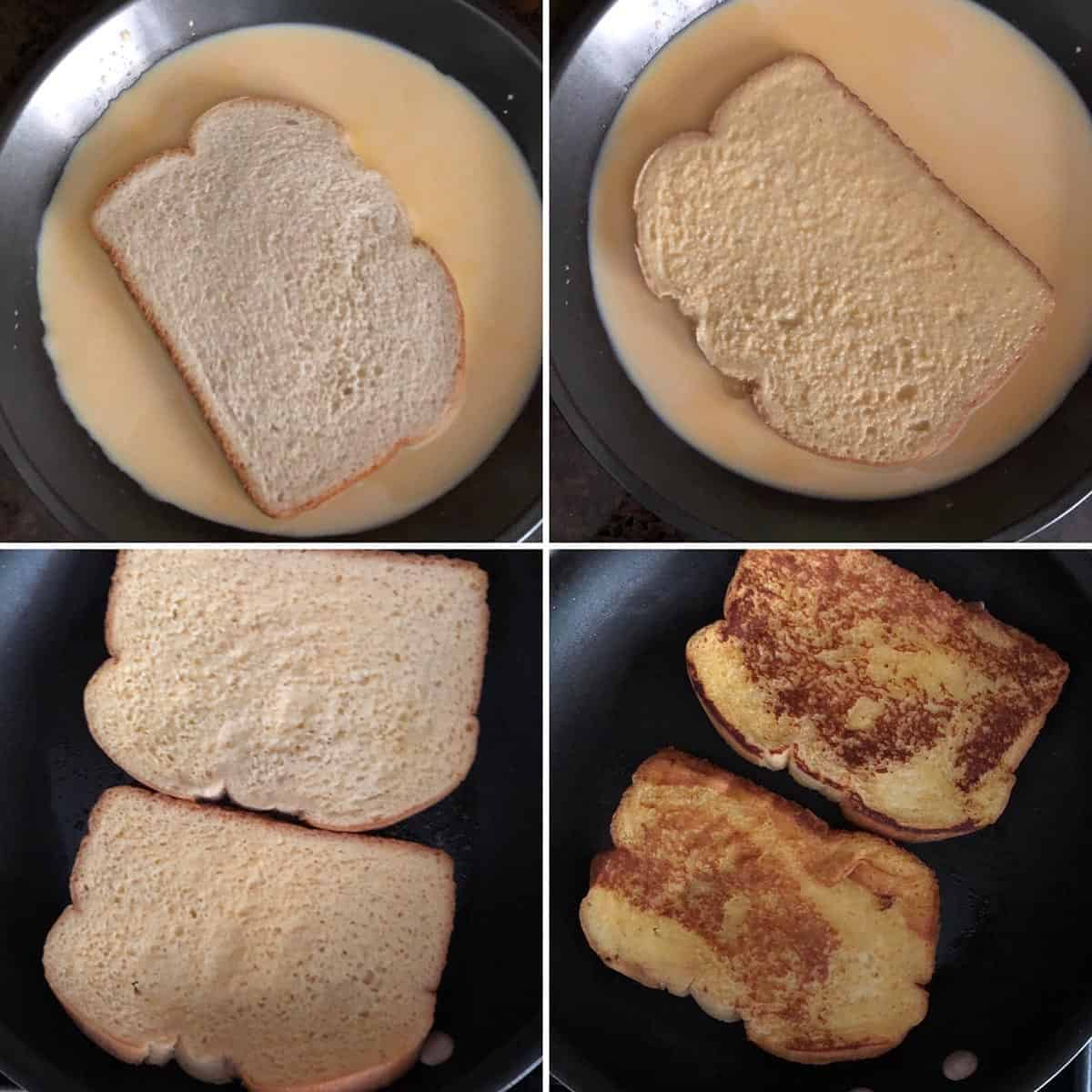 Bread dipped in custard and cooked on griddle until golden brown