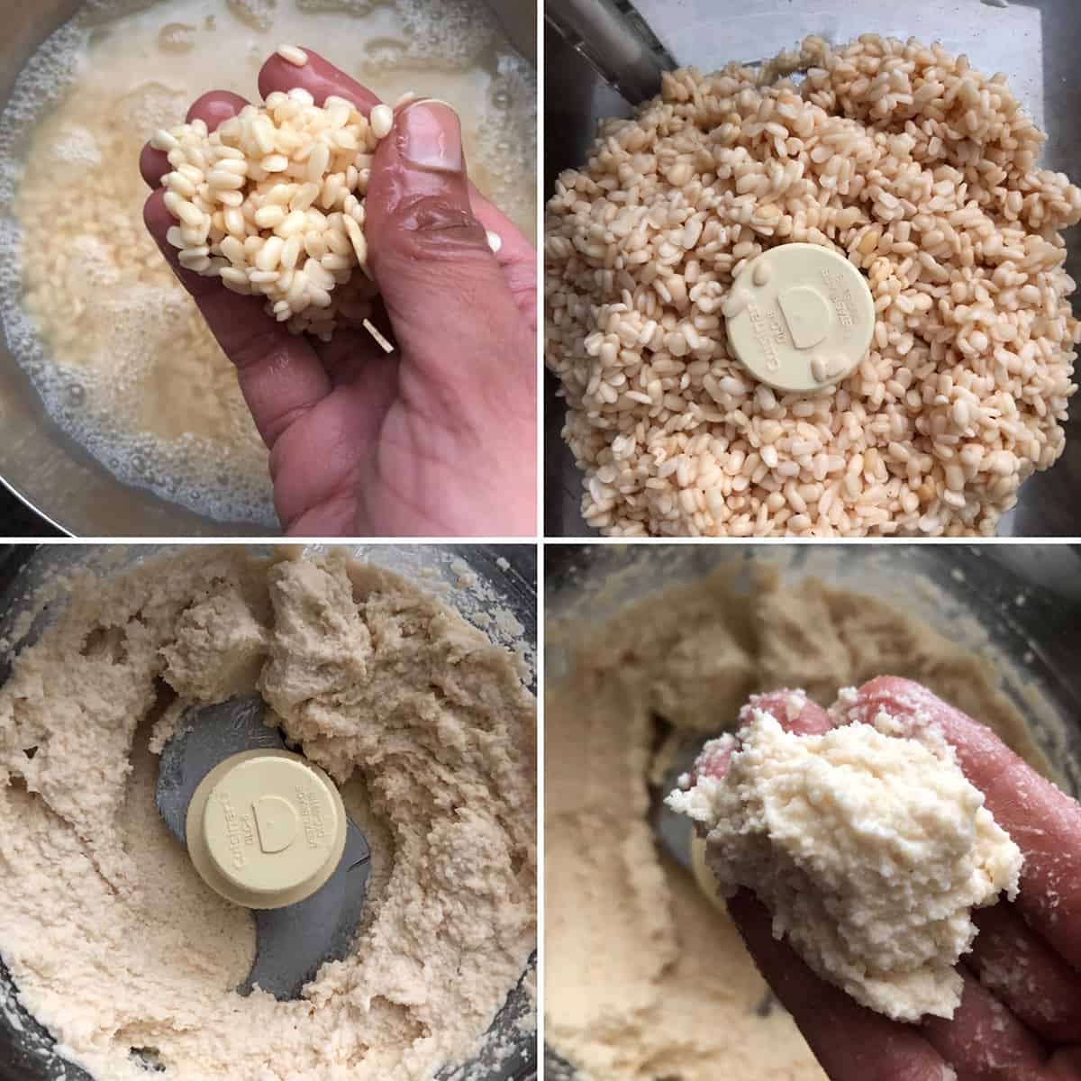 Photos showing soaked urad dal, then ground into a smooth paste with little water