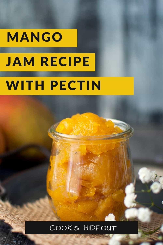 Glass jar with mango jam