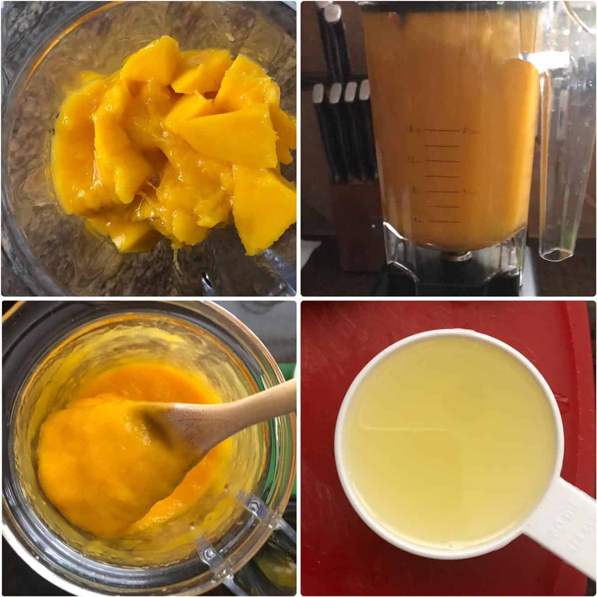 step by step photos showing chopped fruit being ground to puree and a measuring cup with lemon juice