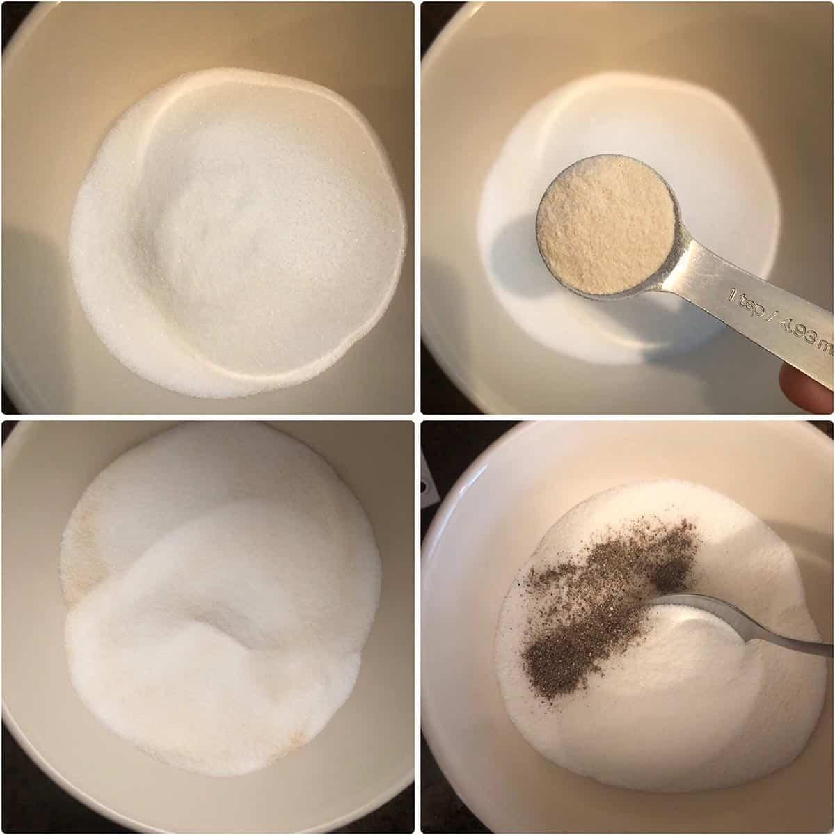 adding pectin powder and cardamom to sugar