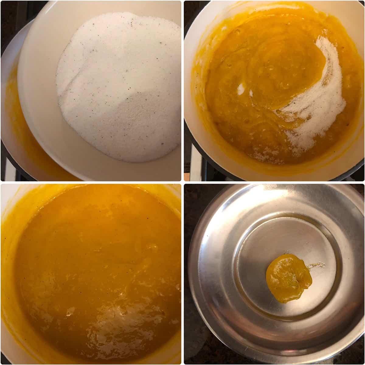 adding sugar to pan and cooking till mango jam sets