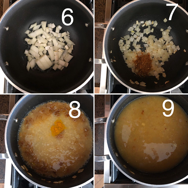 Step by step photos of making of Nepali dal