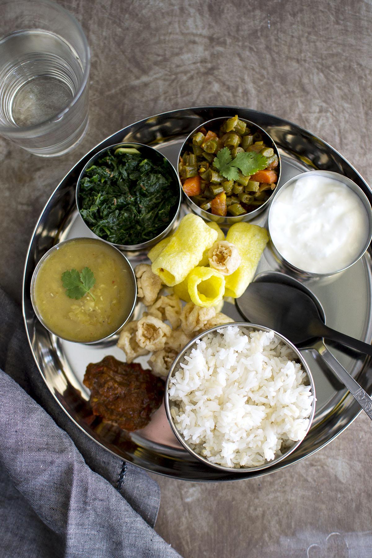 Nepali Thali with vegetarian dishes