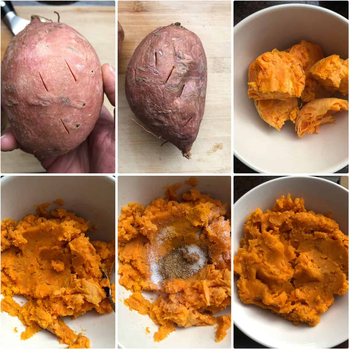 Step by step photos showing microwaved sweet potatoes, peeled and mashed with spices