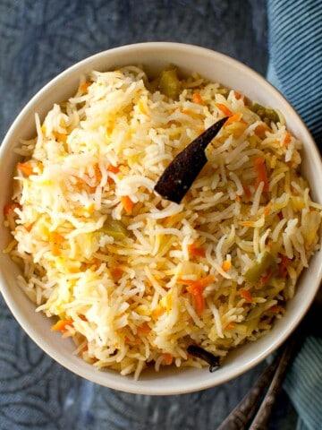 White bowl with Yemen Carrot Rice