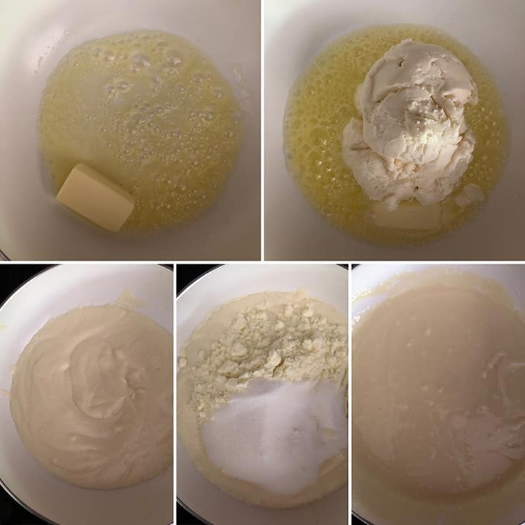Step by step photos showing cooking butter with ricotta cheese, milk powder and sugar