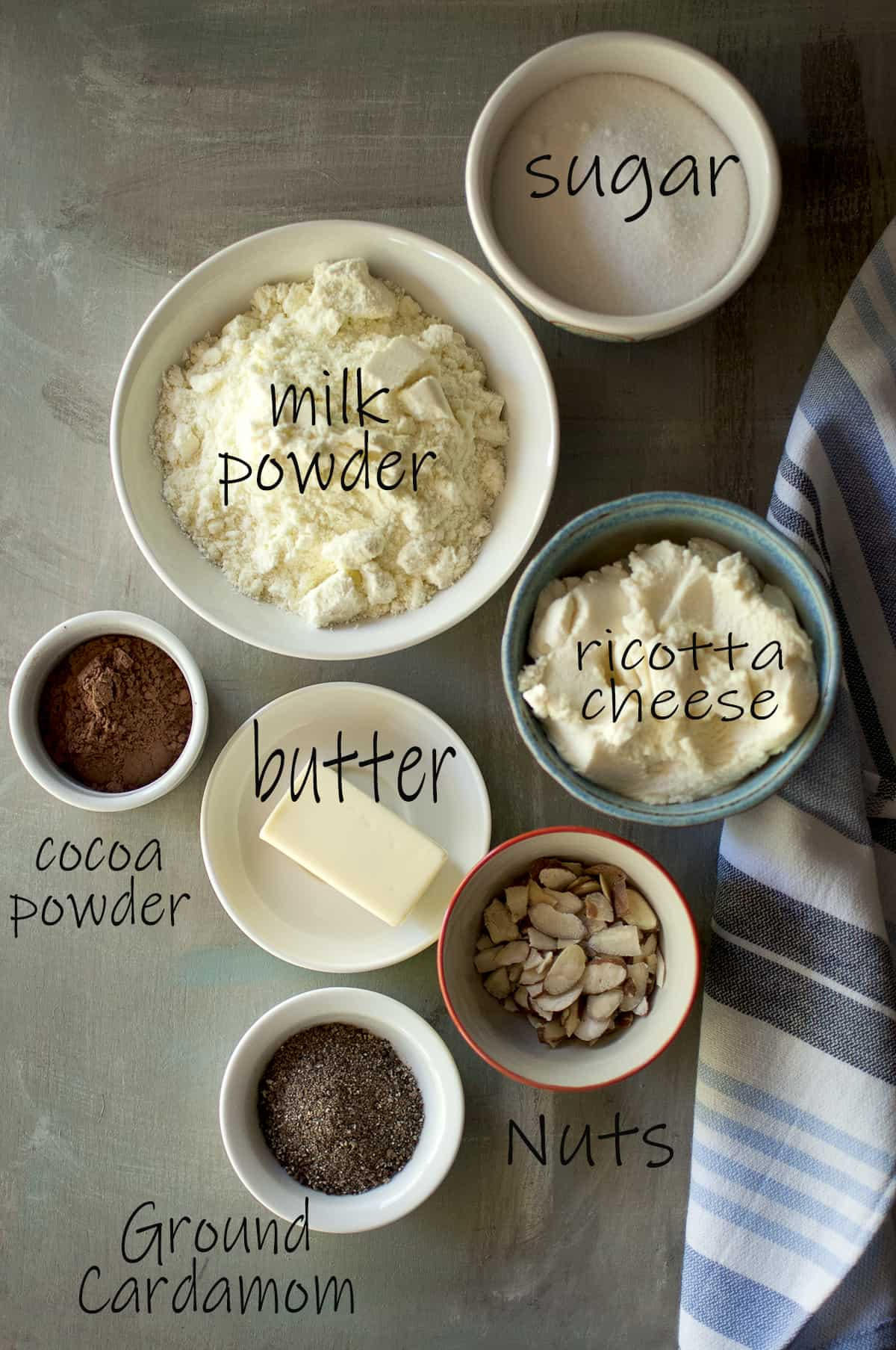 Ingredients needed - sugar, milk powder, ricotta cheese, butter, cocoa powder, unsalted butter, almonds, ground cardamom