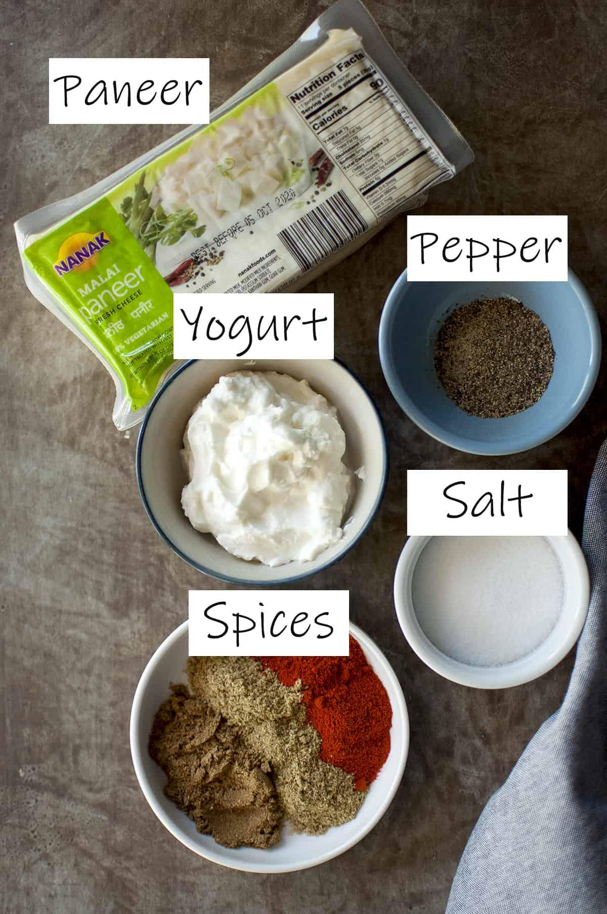 Ingredients to marinate paneer for the tikka