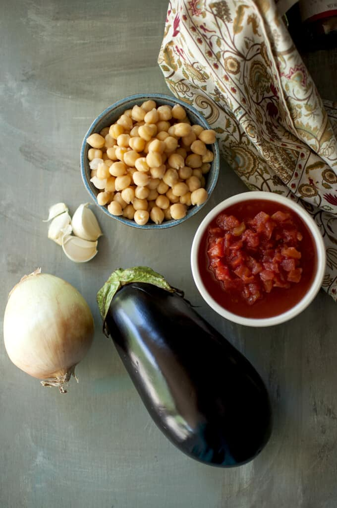 Ingredients needed - eggplant, onion, garlic, chickpeas, canned tomatoes