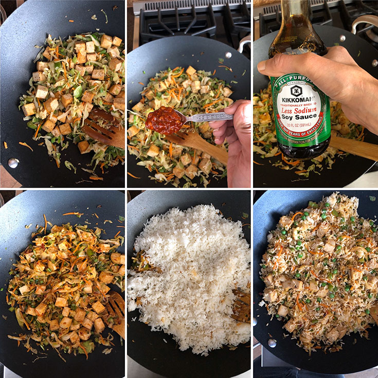 Step by step photos showing the cooking of vegetables and rice to make fried rice