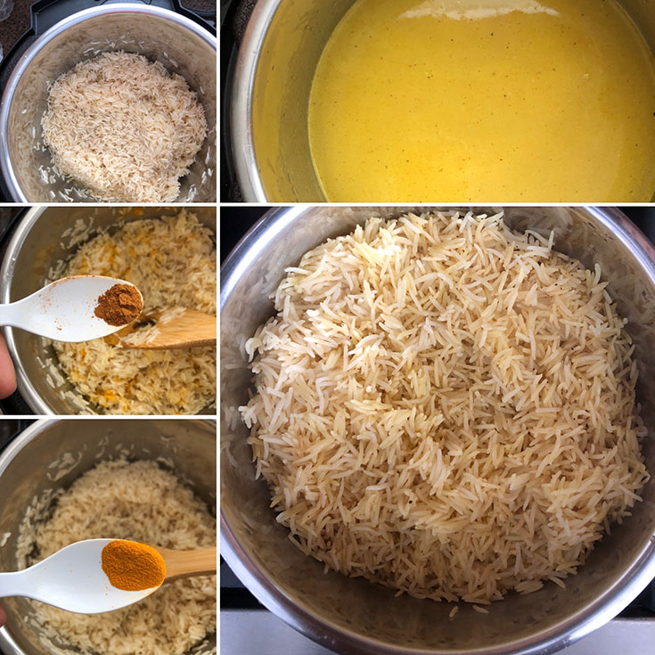 Step by step photos showing the making of Jordanian Rice layer