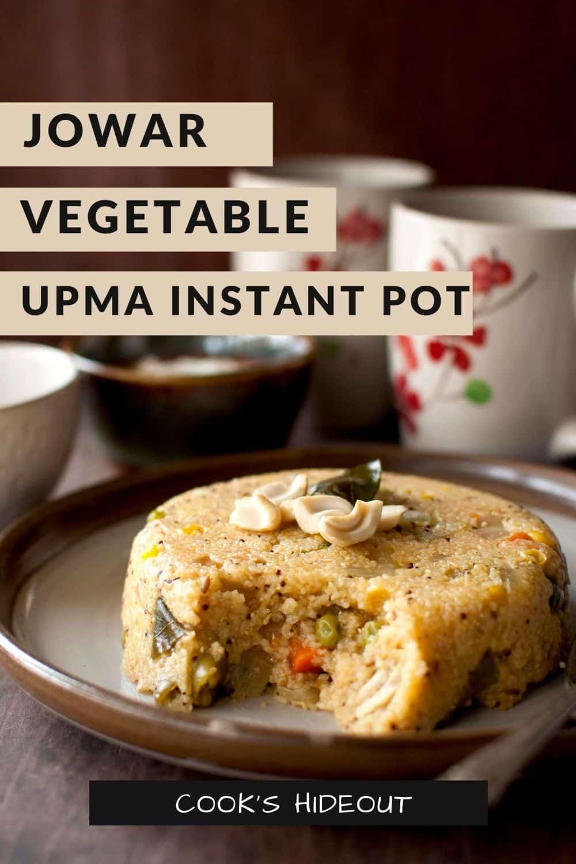 Instant Pot Jowar Upma on grey plate