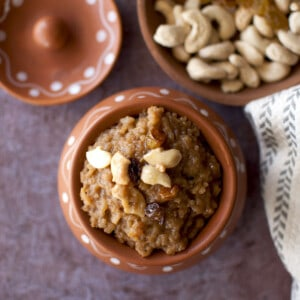 Brown bowl with Bellam Payasam