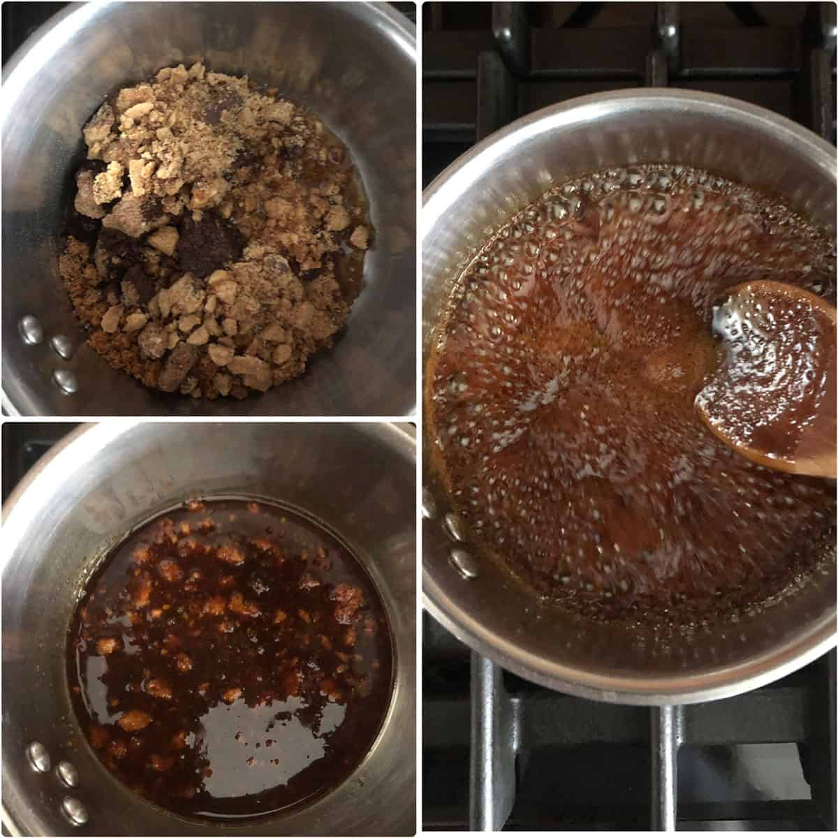 Jaggery melted with water and cooked till thickened