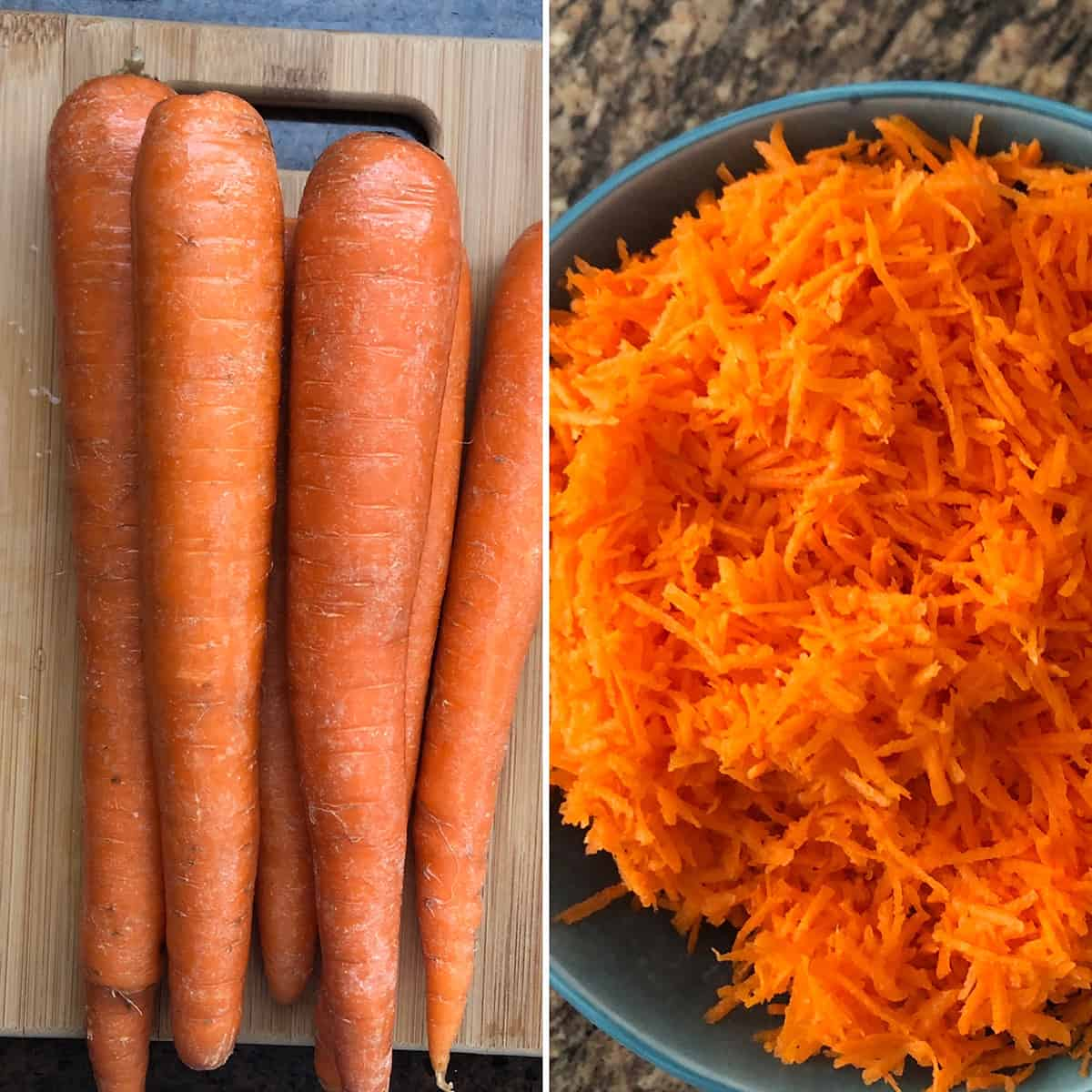 Side by side photos of carrots and finely grated carrots