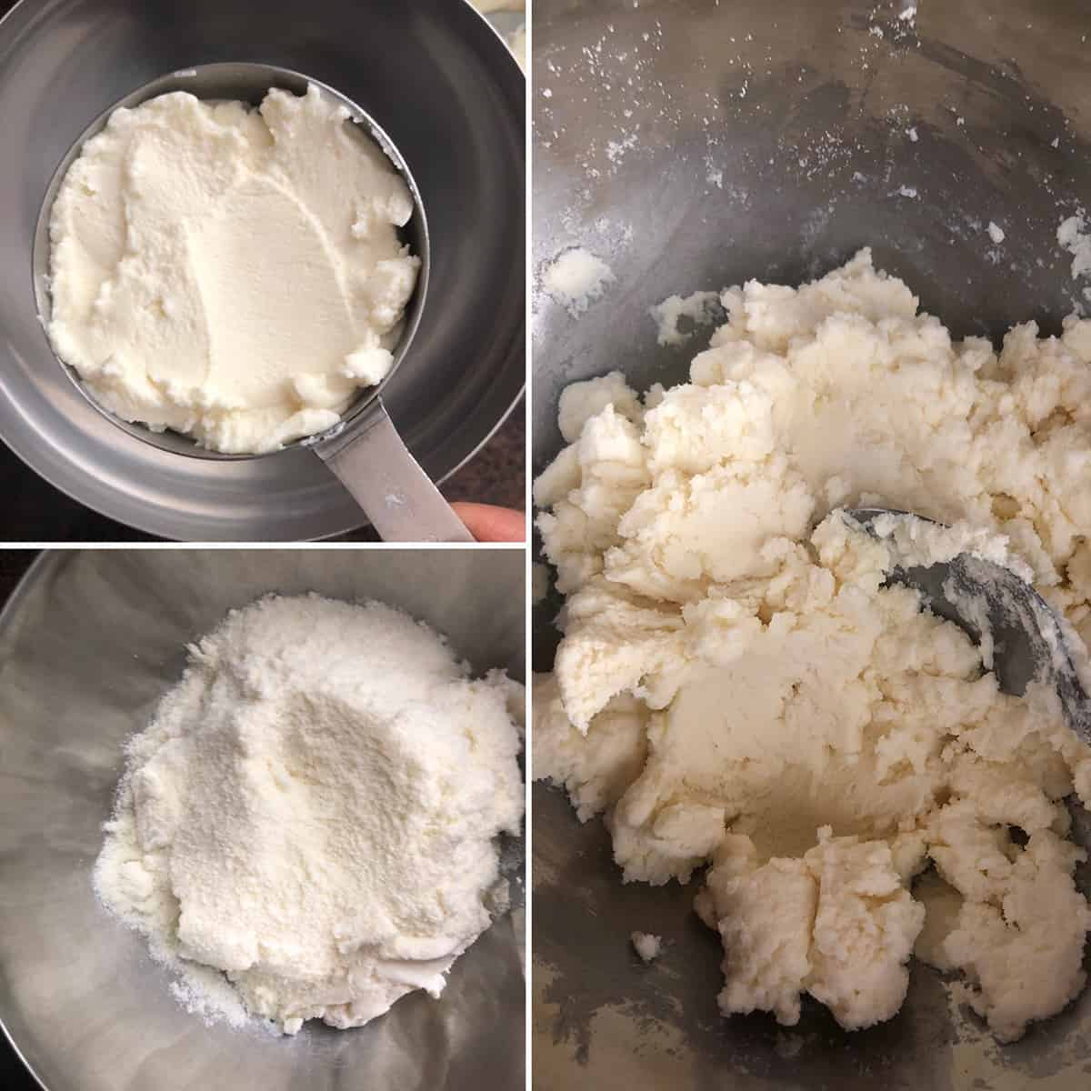 Combining ricotta cheese and dry milk powder in a steel bowl