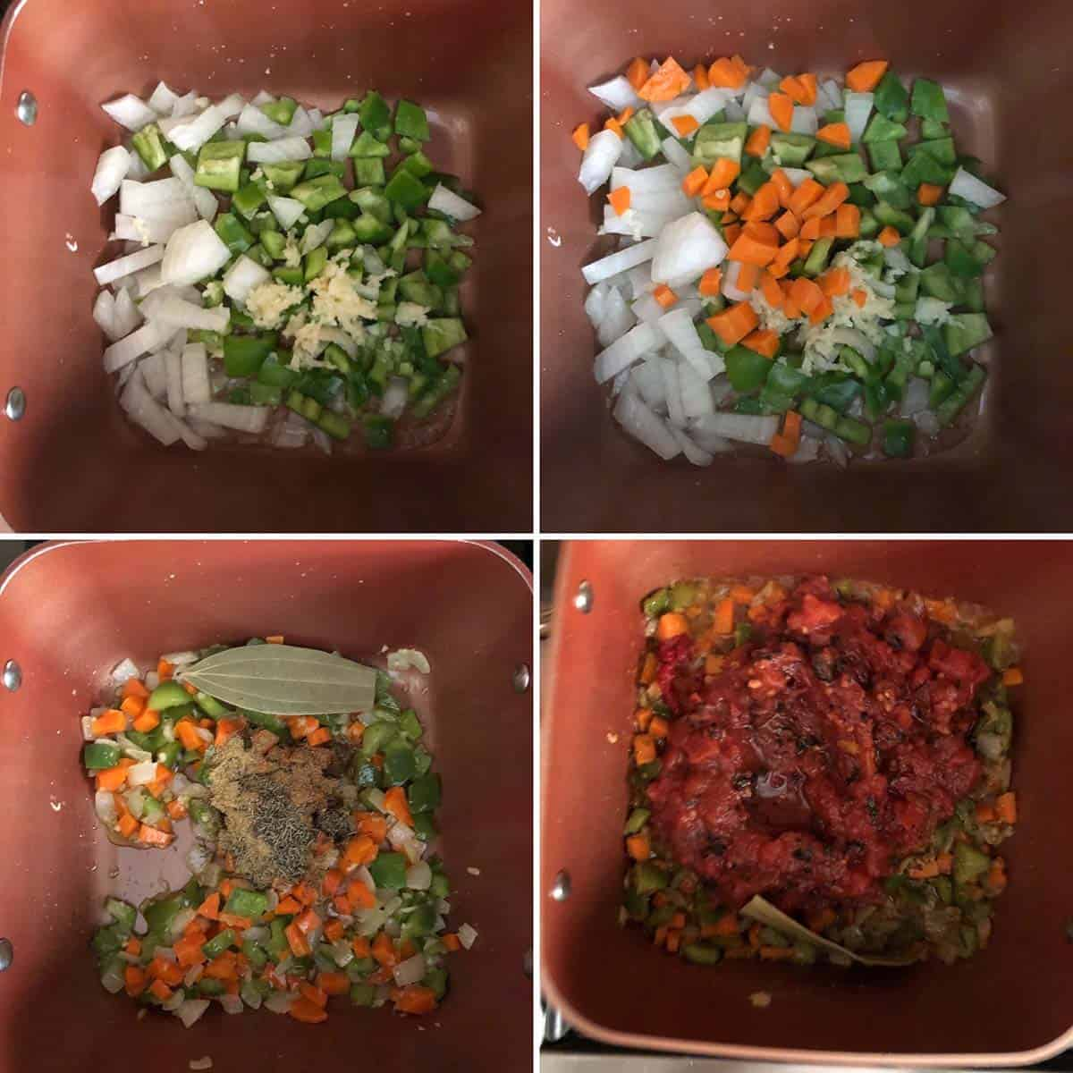Step by step photos showing the sauteing of veggies and spices