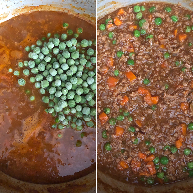 Side by side photos showing the addition of green peas and simmering Lebanese Stew