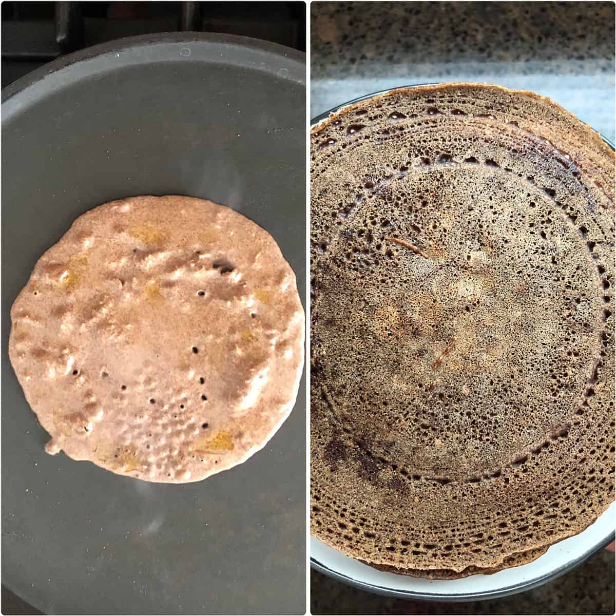 Side by side photos of dosa batter on the hot griddle and cooked dosa
