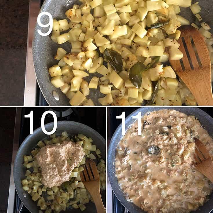 Step by Step photos to make vegetarian Sorakaya kobbari karam