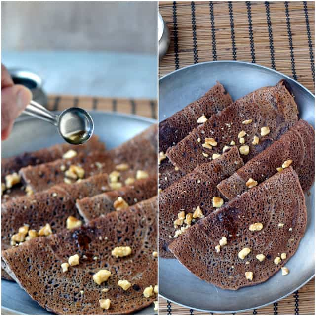 Collage with crepes made with finger millet flour and topped with chopped walnuts