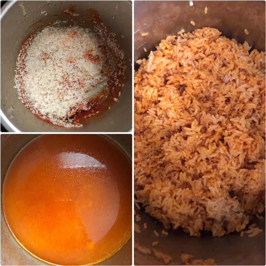Cooking rice in tomato broth