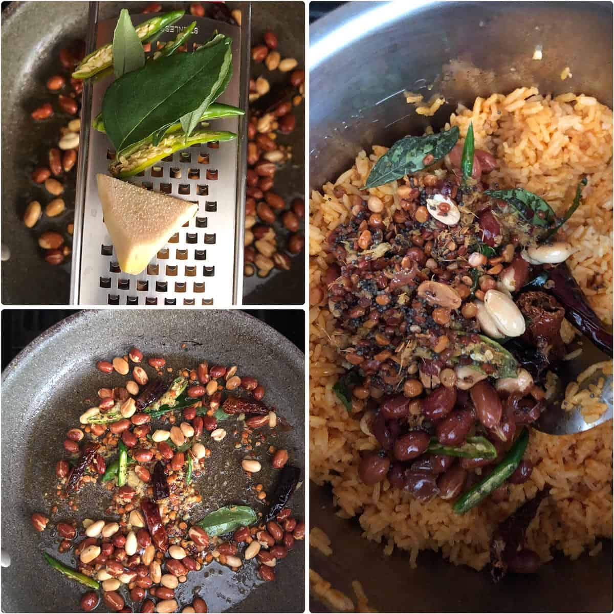 Adding sautéed peanuts to cooked rice