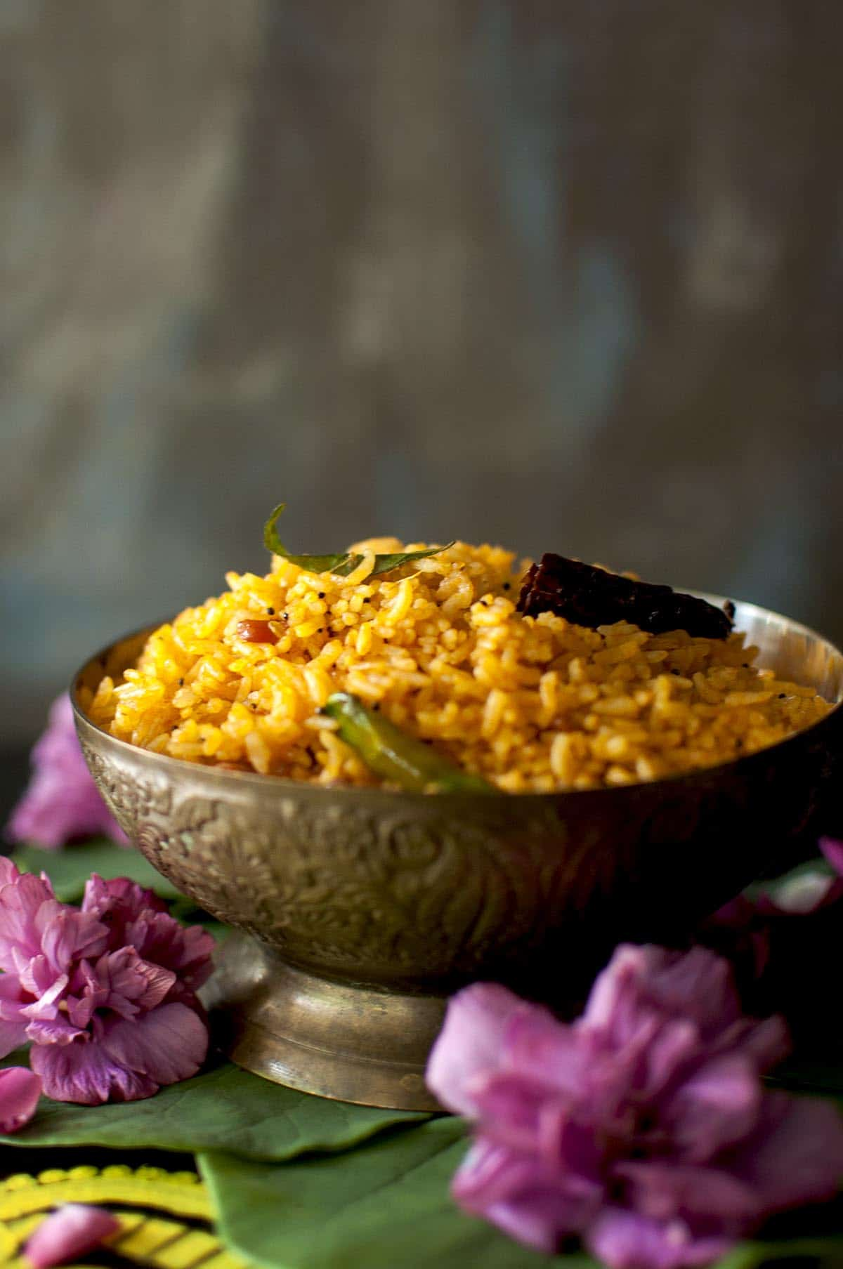 Brass bowl with spicy Indian rice