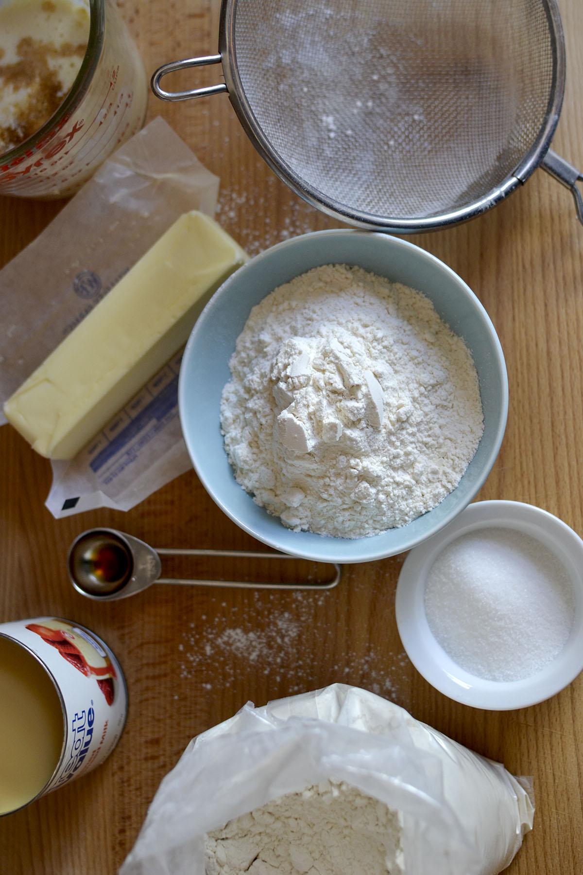 Ingredients needed - flour, butter, condensed milk, vanilla, milk, salt