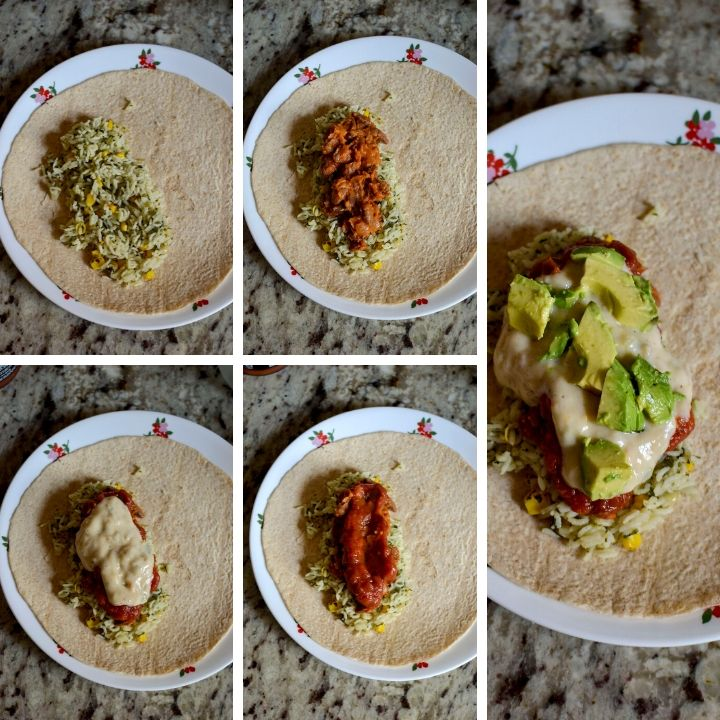 Step by step photos showing the layering of stuffed burrito