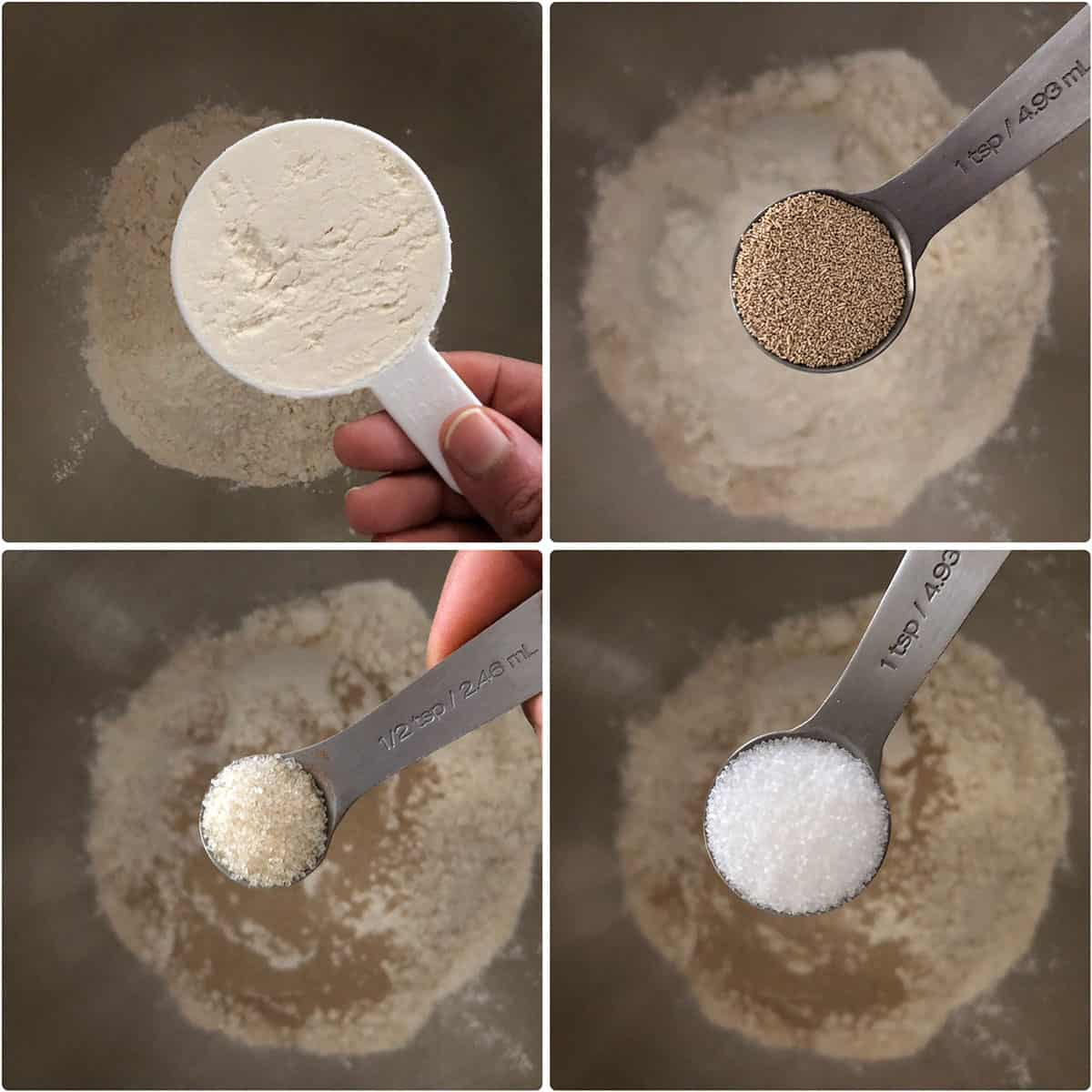 Dry ingredients being added to a mixing bowl