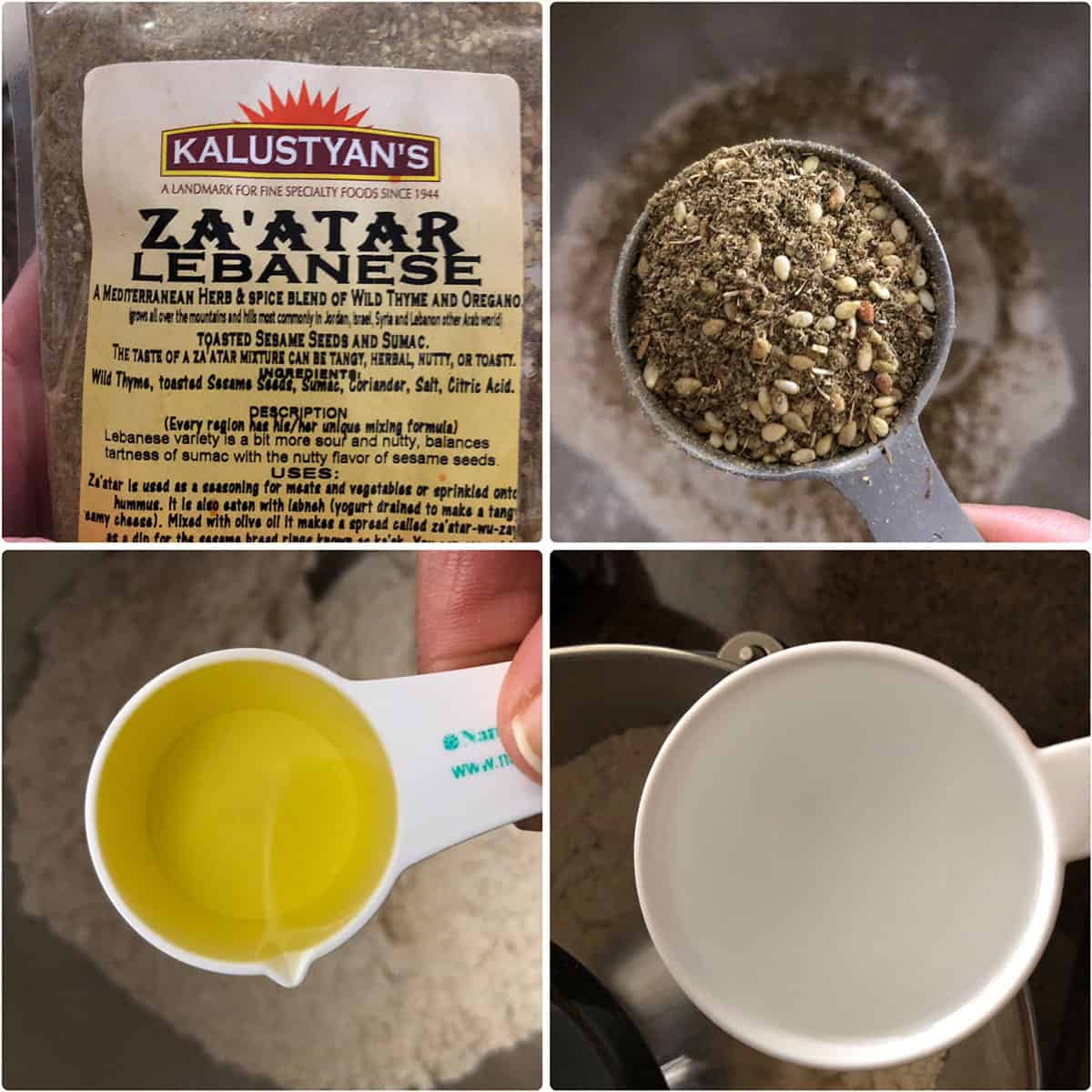 Za'atar, oil and water added to flour and yeast