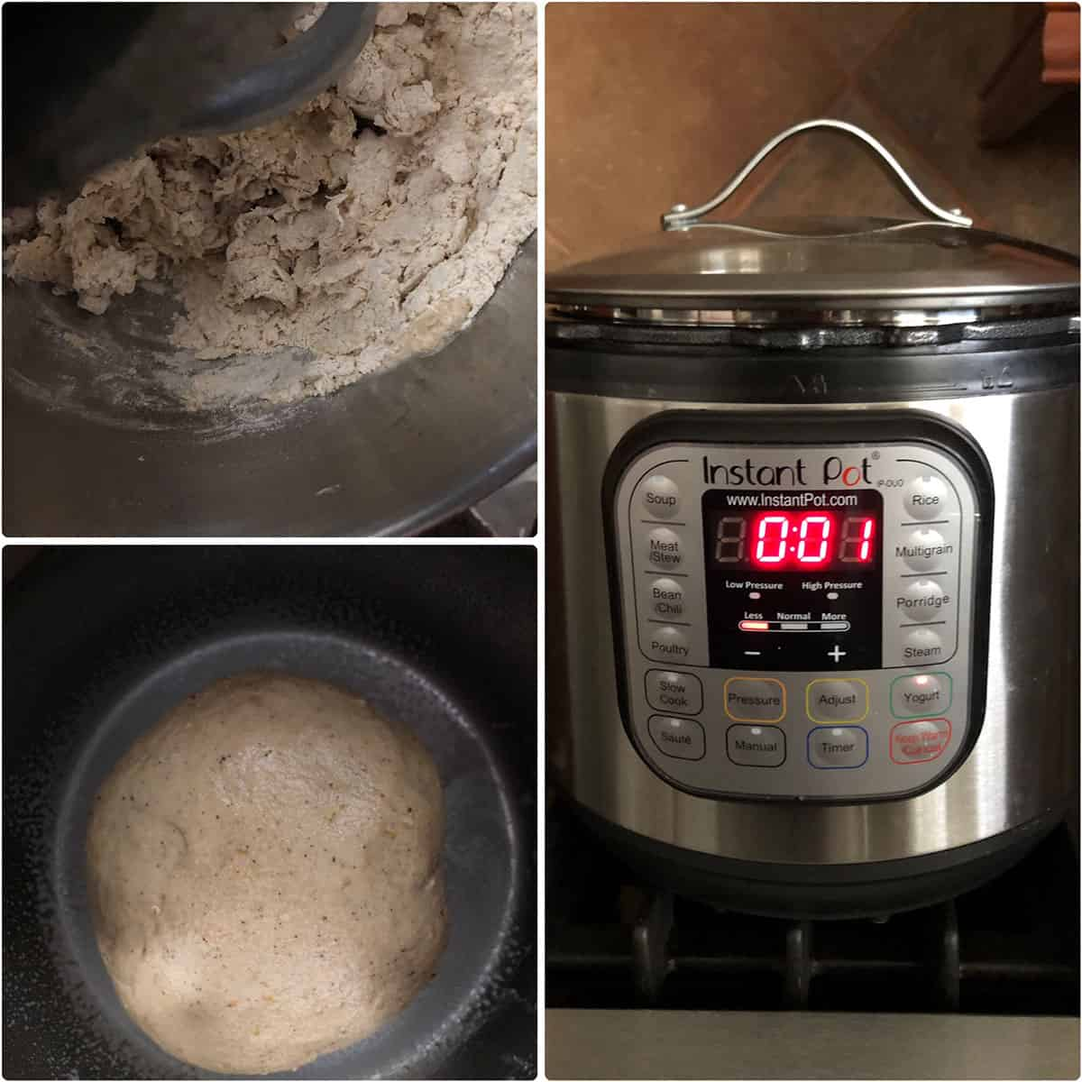 Flatbread Dough placed in an  Instant pot for proofing