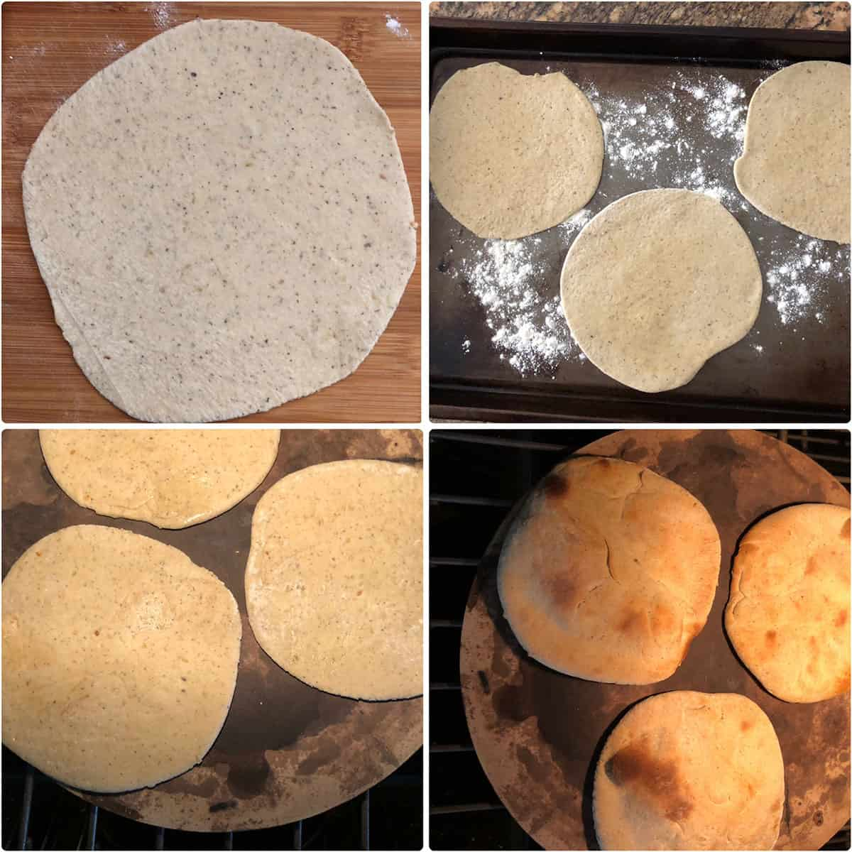 "Dough rolled out into 6~7"" discs baked until golden"
