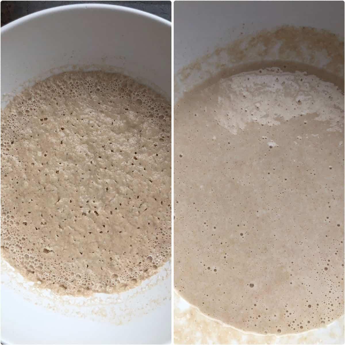 White bowl with risen pancake batter