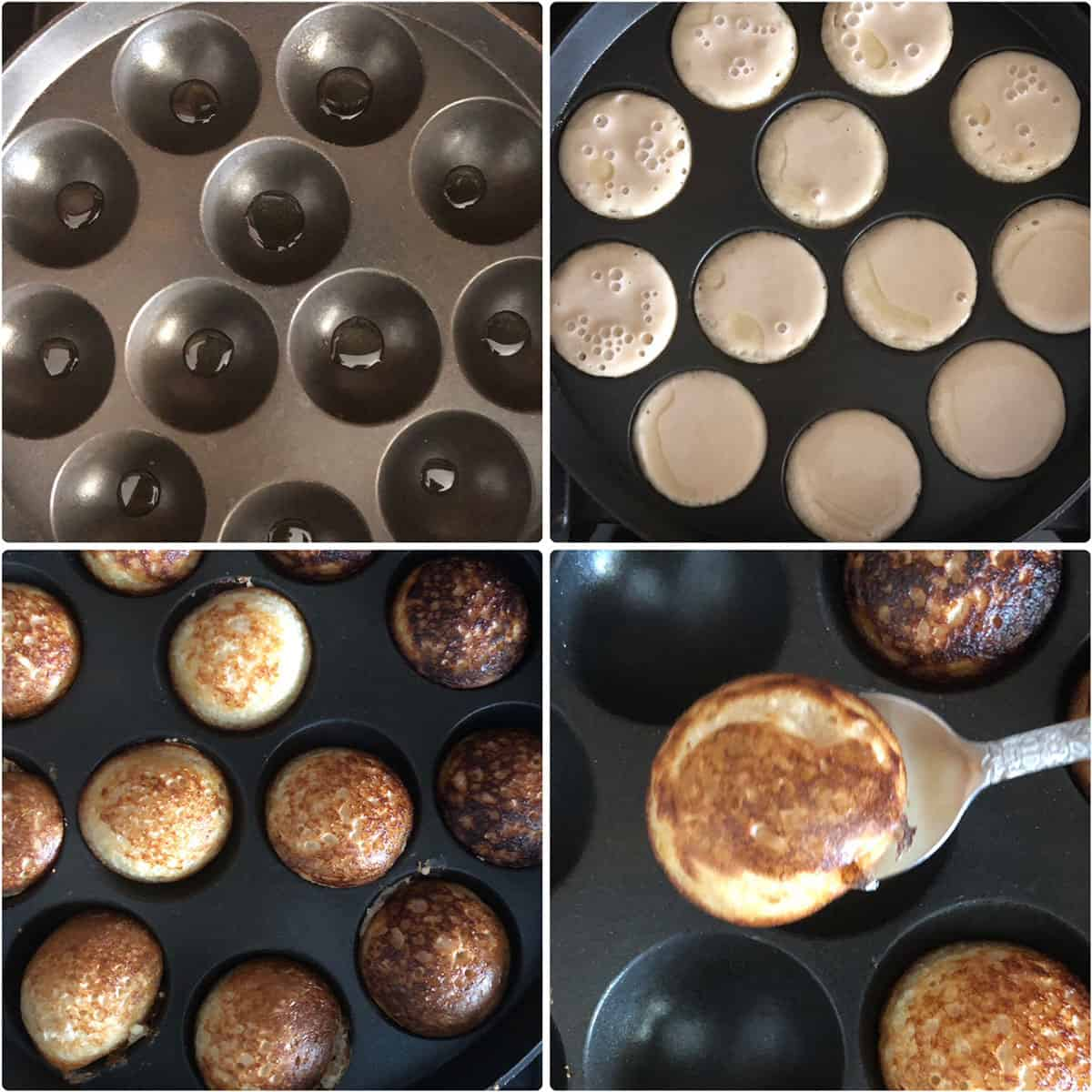Step by step photos showing heating oil in an aebliskiver pan and cooking until golden