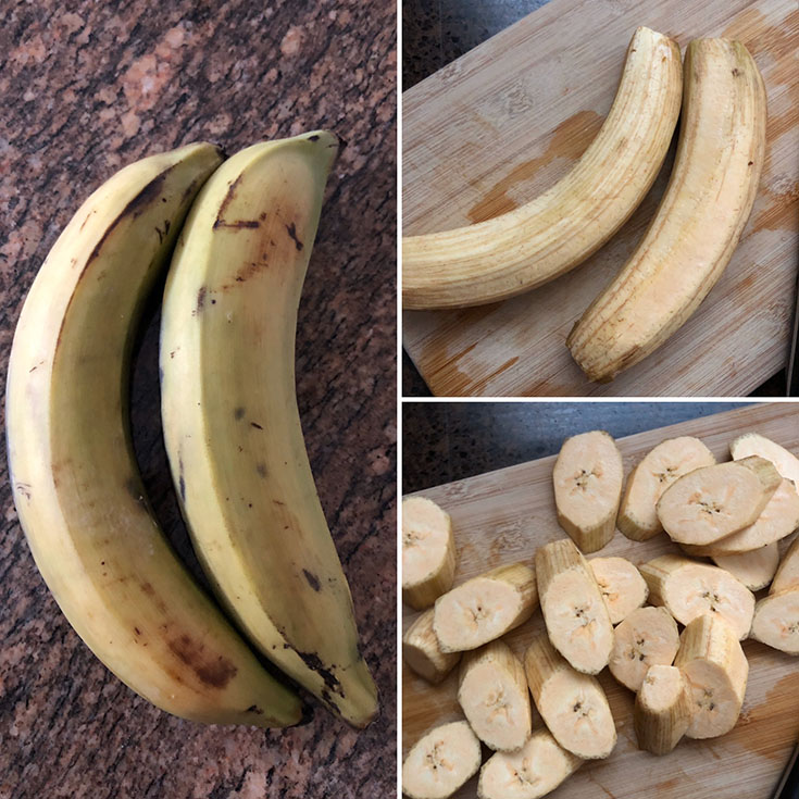 Photos of Plantains, peeled and chopped to make Cuban Tostones