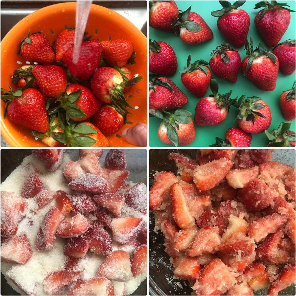 step by step photos showing cleaning berries and mixing them with sugar