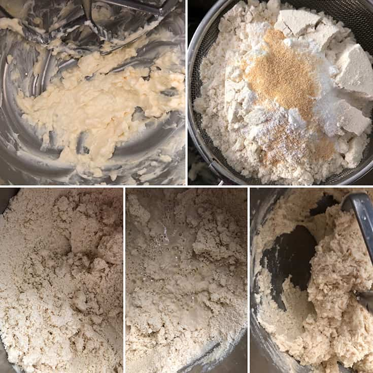 Step by step photos showing the making of masa dough