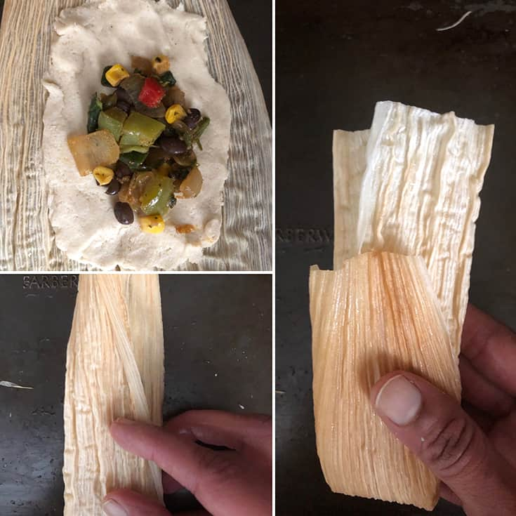 Step by step photos masa dough spread on a corn husk topped with filling and made into a tamale